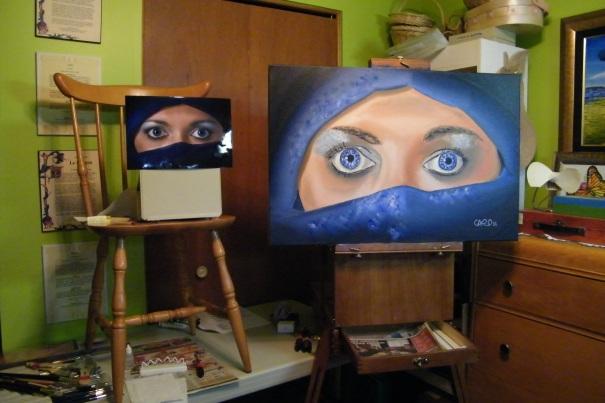335 111015 Peinture S_Femme voilée II_modèle et peinture